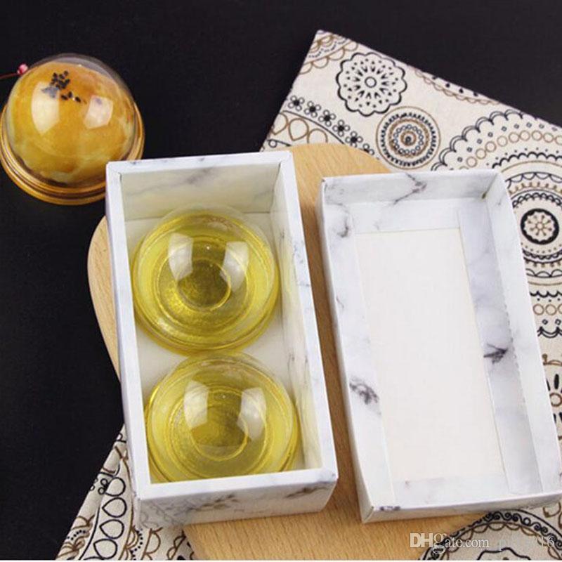 100 unids / lote Modern Marbling Art Pattern Nieve Niang Egg-Yolk Puff Caja de Papel de Regalo de Regalo Cajas de Torta de Luna Envío Gratis ZA4226