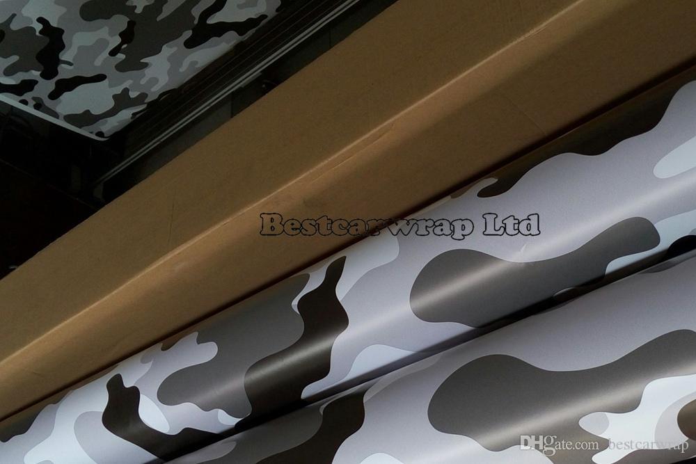 ブラックホワイトカモグラフィティ迷彩ビニールラップシートステッカーボーム北極カモステッカーカーラップ車のラップ1.52x 30m