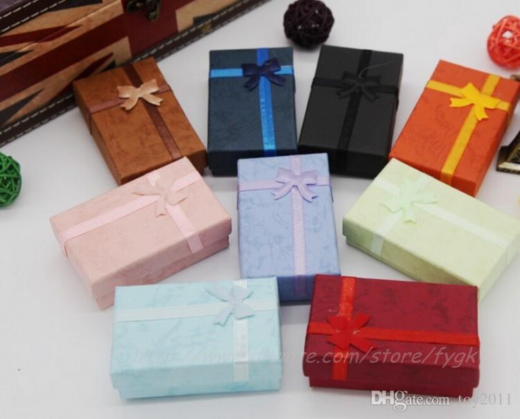 Colores surtidos conjuntos de joyas caja de presentación collar pendientes anillo caja 5 * 8 caja de regalo de embalaje mezclado envío gratis