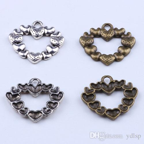 Nova moda de prata / cobre retro DIY jóias pingente 12 pequeno amor em forma de coração pingente fit charme Colar 250 pçs / lote 1948c