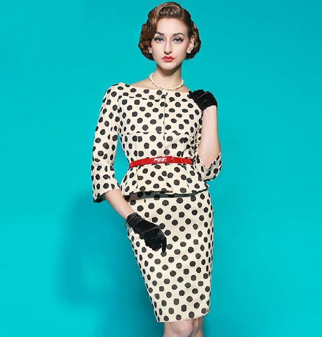 Elegant Retro Mid Sleeve White Black Polka Dots Professional Dress Office Lady Work Dresses Pencil Dress Party Dresses Size S to XXL