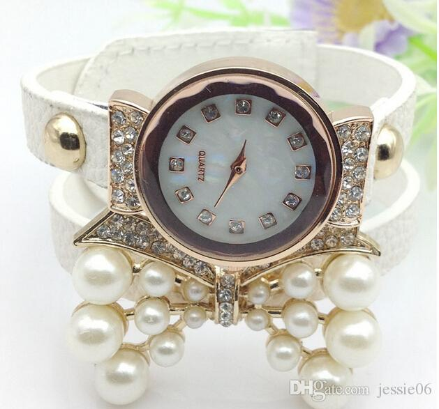 Fashion rhinestone belt quartz watch women diamond pearl butterfly 2 layers leather bands wristwatch bracelets bangle charm jewelry gift