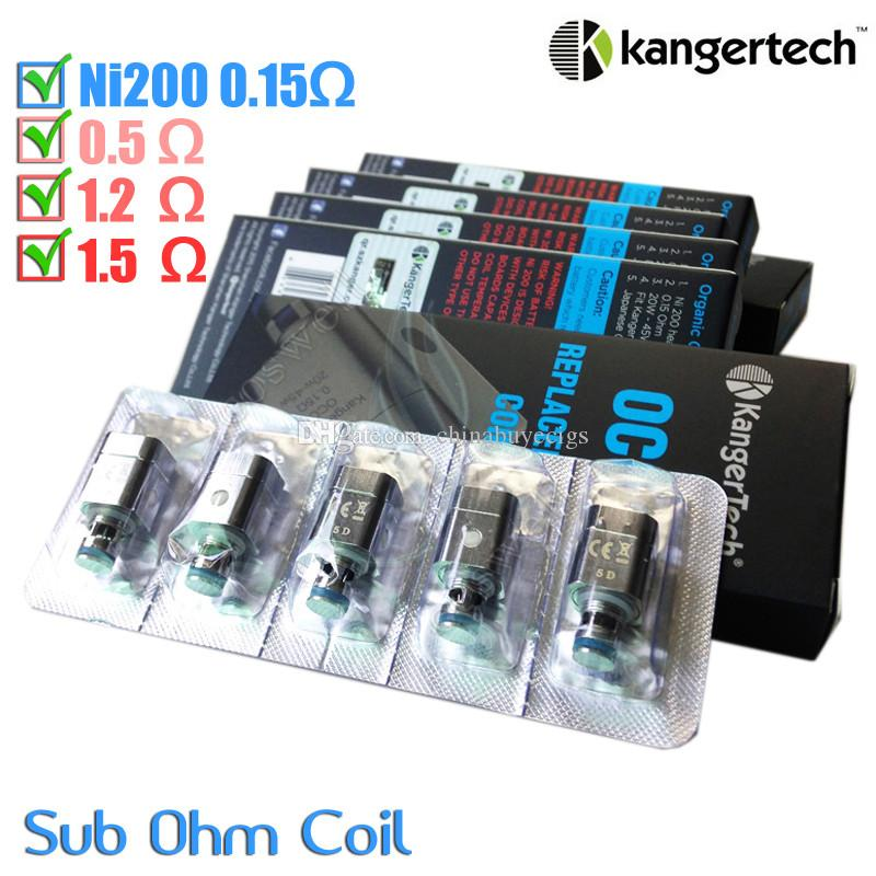 100%Original Kanger OCC Replacement Coil upgraded Ni200 0.15ohm sub ohm Kangertech Subtank Clearomizer Vertical dual Coils atomizer core DHL
