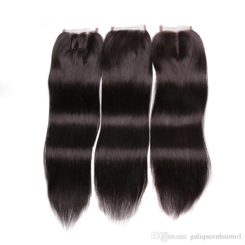Brasiliansk kroppsvåg lös våg djup våg djup lockig kinky lockigt mänskligt hår spets stängning mitten del 3 del 4 x 4 spets top stängning