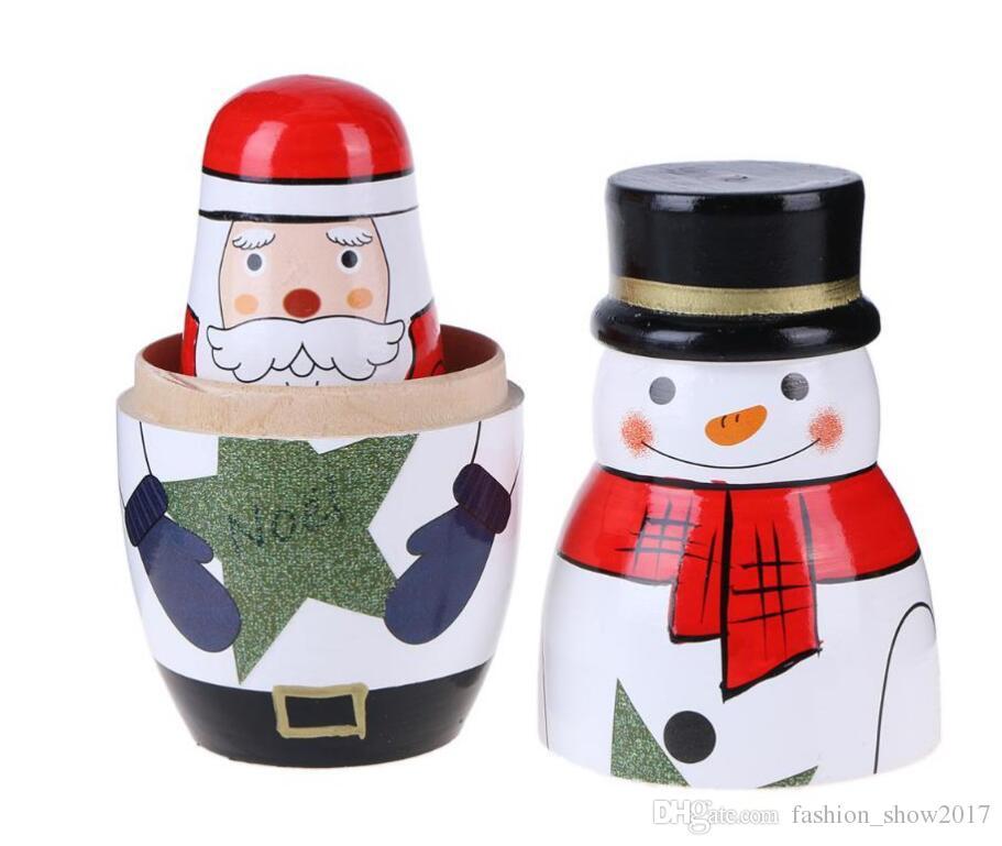 Hölzerne Matryoshka Puppen Baby Spielzeug Nesting Puppen Schöne Weihnachten Schneemann Santa Claus Bild Russische Puppen Kinder Geschenk