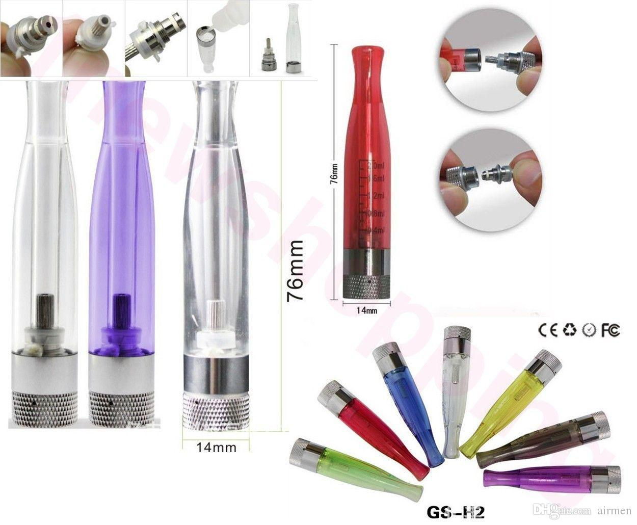 GS H2 Atomizer GS-H2 Ayrılabilir Clearomizer gsh2 Hiçbir Fitil CE4 Atomizer Cartomizer Yerine Takım EGO Serisi eGo-T Pil 510 Konu DHL