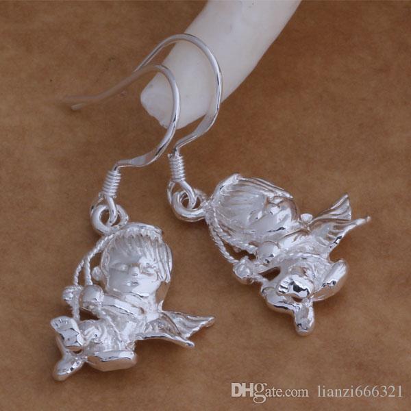 Мода производитель ювелирных изделий 40 шт. много Амур серьги стерлингового серебра 925 ювелирные изделия завод цена мода блеск серьги