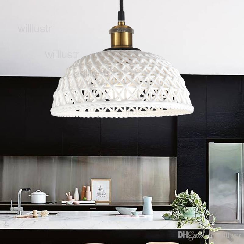 Nordic White Ceramic Pendant Light Carved Half Sphere Dome Lighting Home Hotel Restaurant Dinning Room Living Lamp Iron Cylinder