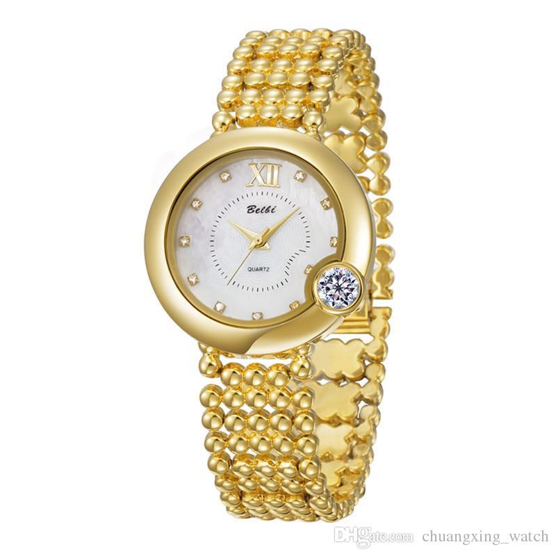 Compre Relojes De Pulsera De La Marca Belbi Diamond Design Watch Para  Mujeres Encanto De Lujo Barato China Cuarzo De Alto Grado AAA 9829 Relojes  De Oro ... 18936e815e7b