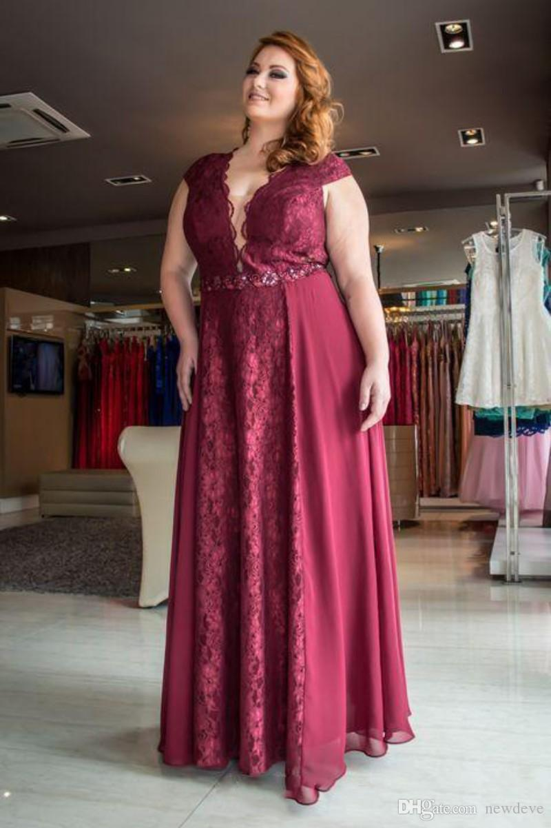 Plus Size Evening Gown Dress Red Wine Lace Vestidos De Fiesta Hollow Back  Prom Dresses For Fat Women Size Clothing Womens Evening Dresses From ...