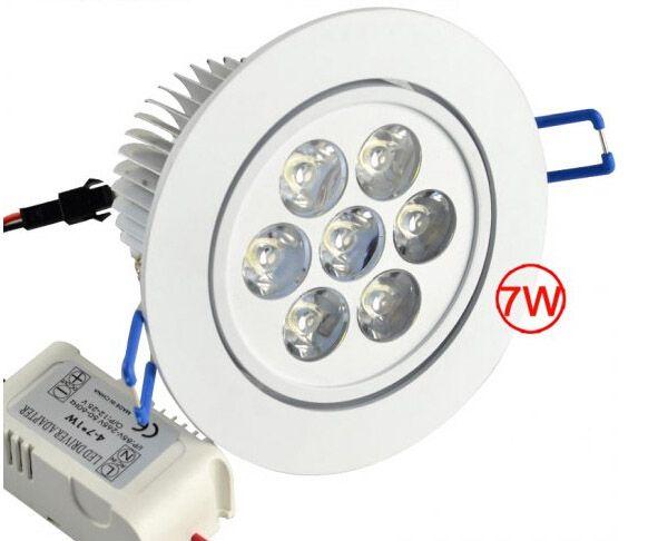 Soffitto di 7W LED giù Lighting Bulb 7x1W da incasso Downlights dimmerabili 110V 220V AC Non-dimmable 85-265V di alto potere 7 Watt punto luminoso Luci