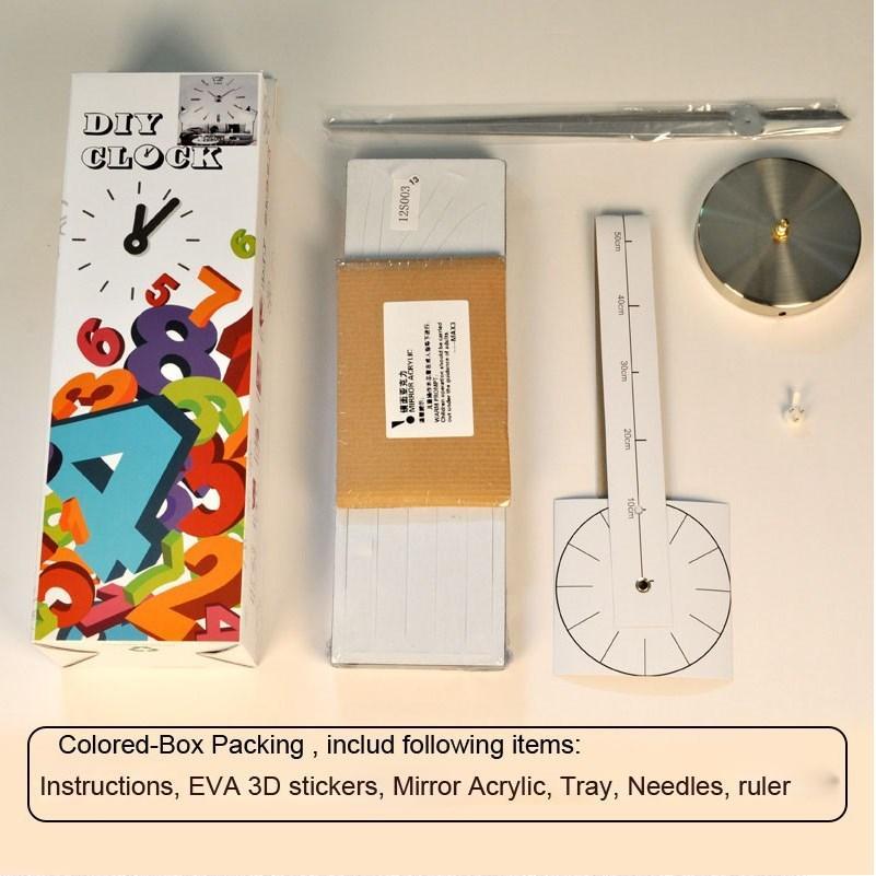 0201002 블랙 이십인치 DIY 3D 미러 번호 아크릴 스티커 벽 시계 임의의 색