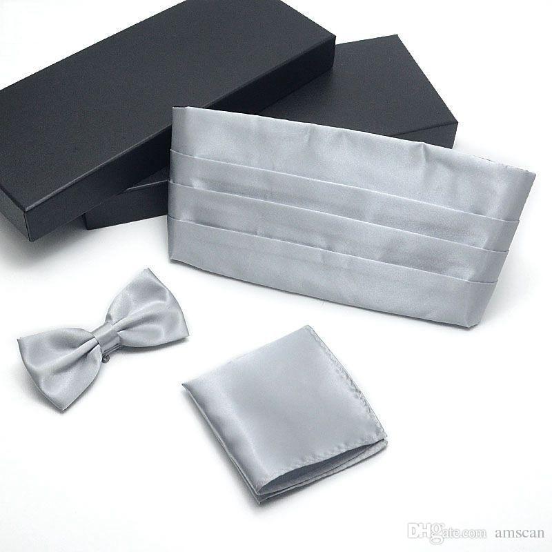 샴페인 남자 정식 드레스 Cummerbund + Bowtie + Hanky Sets 7 색 선물 박스 남자 Hanky Cummerbund Bowtie Neck Tie Set