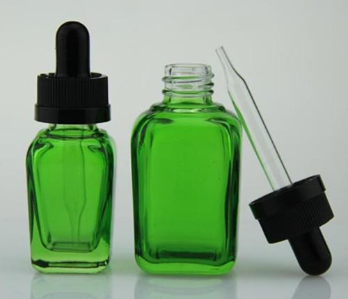 Cam ejuice şişeler kare boş e sıvı damlatma şişesi beyaz kapak açık kırmızı, yeşil, siyah mat Ämter çocukların açamayacağı kapak ecig şişeleri 30 ml'ye