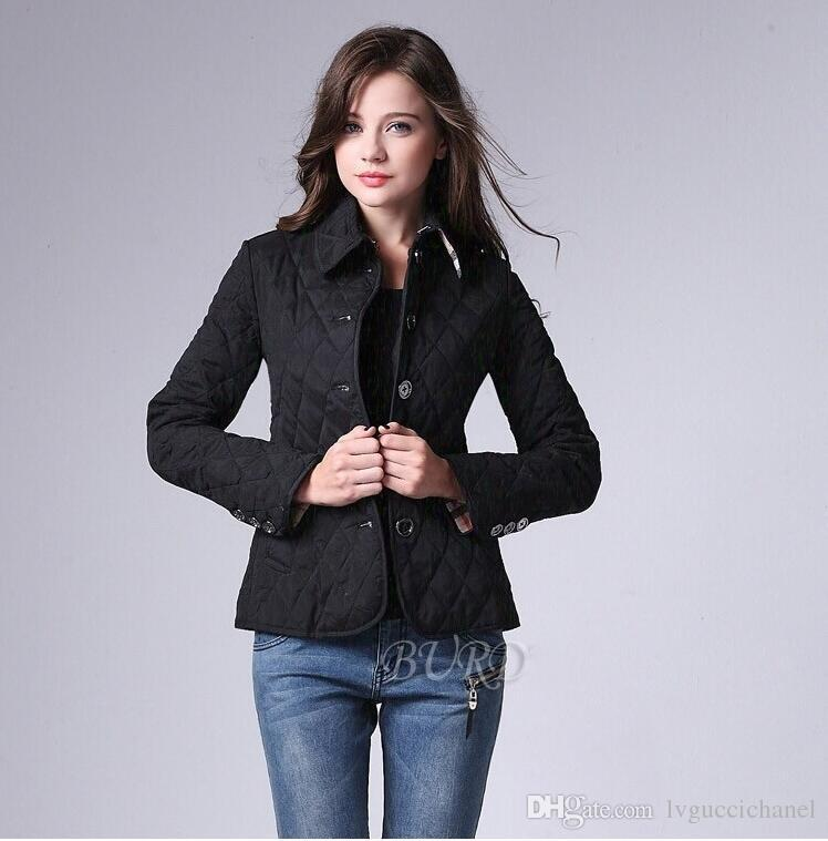 Women Jackets Plain Autumn Cotton Coat Padded womens Casual Coat Jacket Fashion woman Outerwear Plaid Quilting Padded Parkas