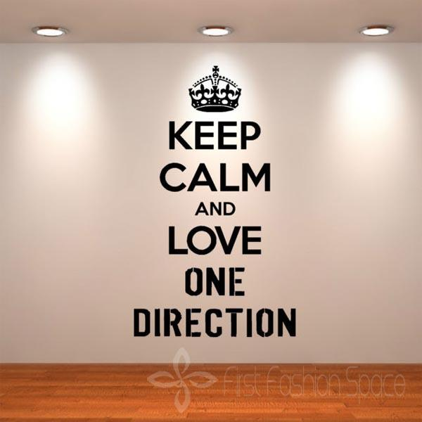 Keep Calm And Love One Direction Wall Quotes Wall Diy Vinyl Art Sticker  Girls Room Music Decal Wall Stickers Size 57cm X 95cm Decal House Decal  Stickers ...