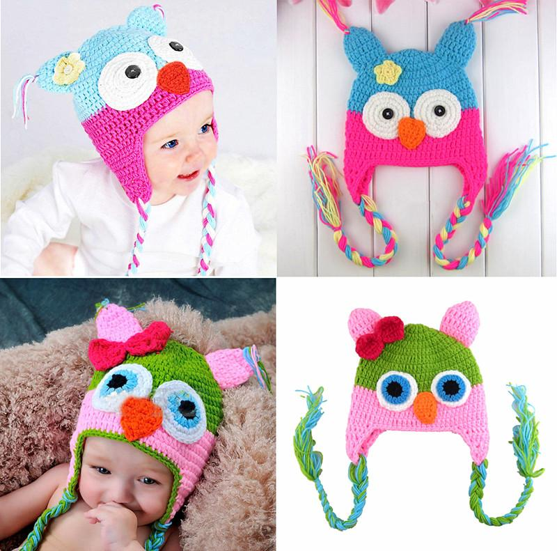 21a240f38edc 2019 Owl EarFlap Crochet Hat 27 Design Baby Kids Wool Weaving Hat ...