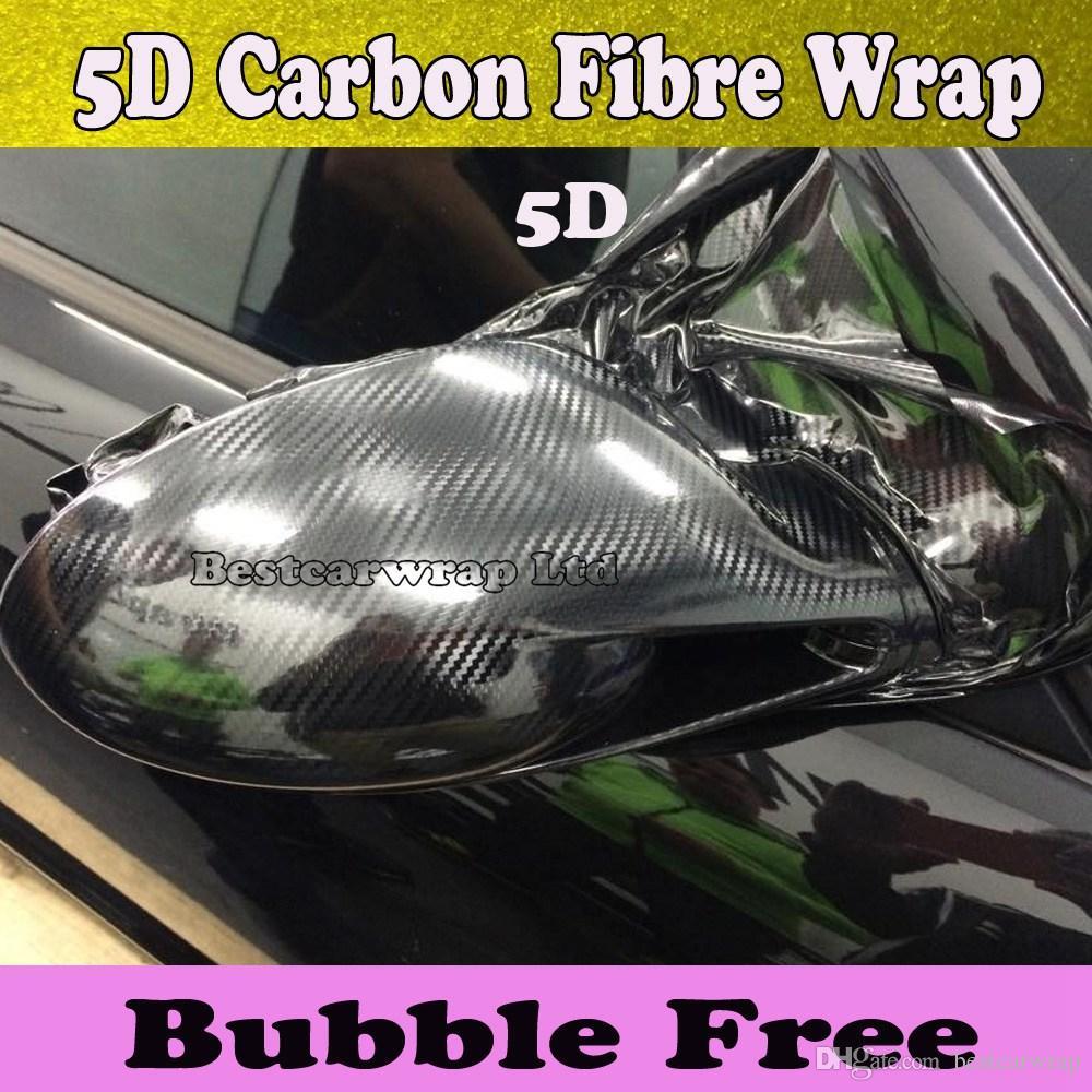 Premium Black 5D Włókno węglowe Wrap Vinyl Wrap Car Wrap Film Bubble Powietrze Free Gloss 5D Węgiel Włókno Włókno Włókno Pojazd Rozmiar 1,52x20m / Roll