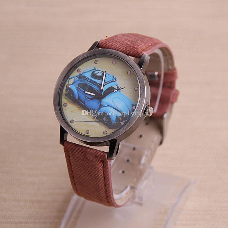 2017 2018 New Promotion Ladies Retro Car Painted PU Leather Watches Classic Quartz Watches dress Wristwatches