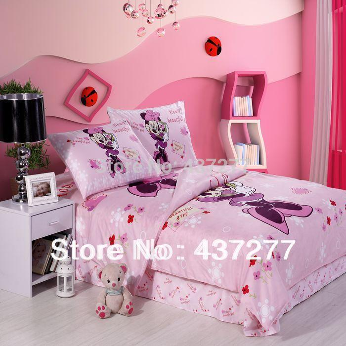 Girls beautiful minnie mouse pink bedding sets cotton fabric queen duvet  cover sheet bedclothes 4 5pc comforter set home textile. Girls Beautiful Minnie Mouse Pink Bedding Sets Cotton Fabric Queen