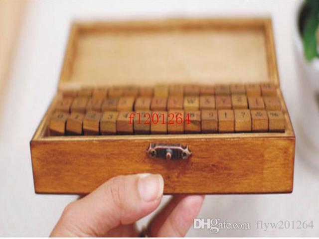 Frete grátis 2015 Hot Number Letter Alfabeto Carimbo De Madeira Conjunto Com Caixa De Madeira Maiúsculas Minúsculas Ambos têm, 80 conjuntos / lote
