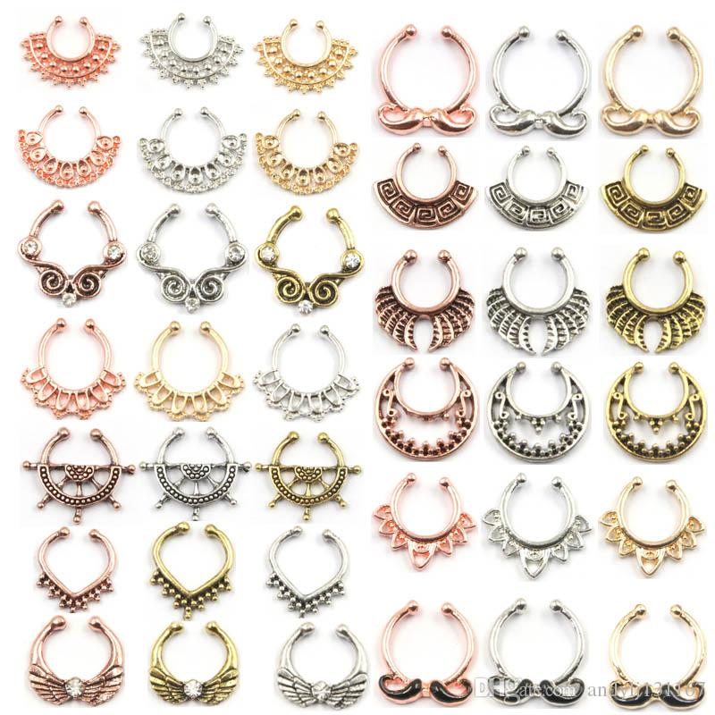 NEW hot sell body jewelry alloy silver and rose gold rose flower faux piercing hoop clip fake nose ring septum for women N0052