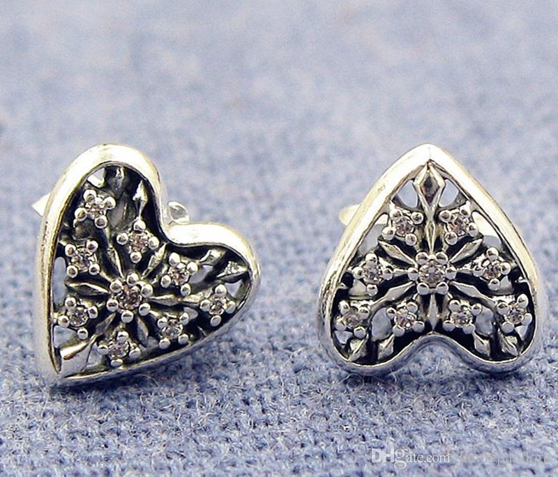 c391138a6 2019 High Quality 100% S925 Sterling Silver Stud Earrings European Pandora  Style Jewelry Hearts Of Winter Stud Earrings With Cz From Landypandora, ...
