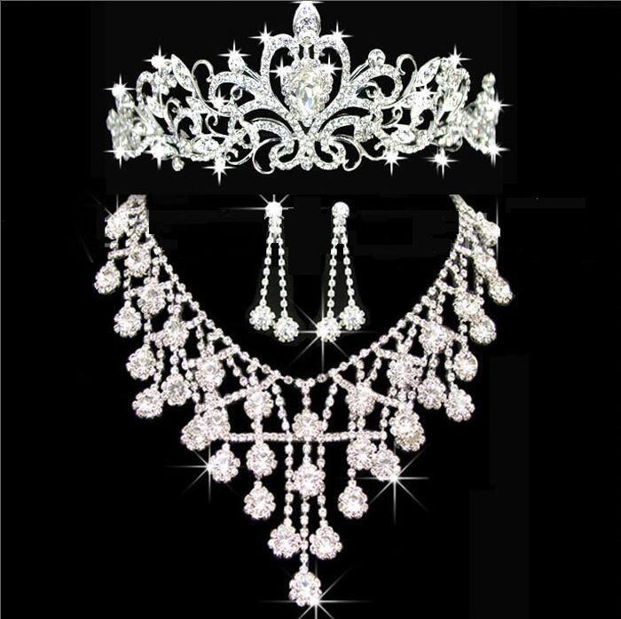 Diademi di diademi oro Tiara corone gioielli di nozze capelli neceklace, orecchino economici all'ingrosso moda ragazze sera abiti da ballo di promenade accessori