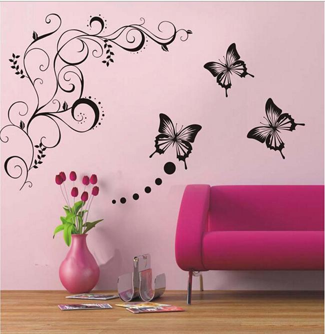 Butterfly Vine Flower Wall Art Mural Stickers Decals Wall Paster House  Decorative Stic Home Decor Wall Sticker Affordable Wall Decals Airplane Wall  Decals ...