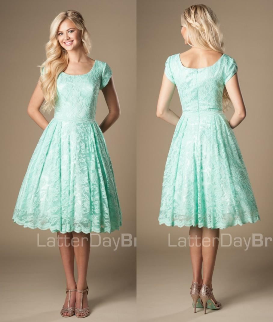 Vintage lace knee length mint short modest bridesmaid dresses with vintage lace knee length mint short modest bridesmaid dresses with cap sleeves round neck 2016 new temple informal bridesmaids dresses bridesmaids dresses ombrellifo Image collections