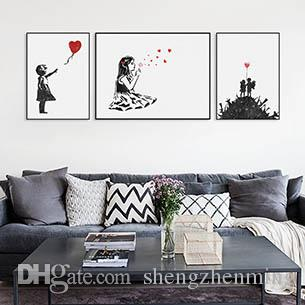 Banksy Black White Modern Abstrcat Pop Hipster Art Print Poster Wall Picture Living Room Canvas Painting No Frame Home Decor