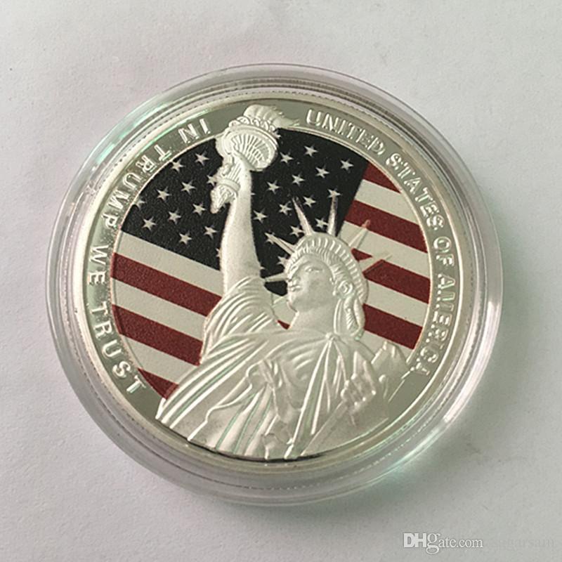 10 stücke 2017 Donald Trump Der Präsident der Vereinigten staaten von Ameirca Neueste versilbert farbe 40 mm andenken münze abzeichen