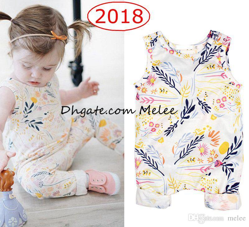 1ea0a20a8 INS Spring Summer Kids White Floral Full Print Onesies Jumpsuits ...