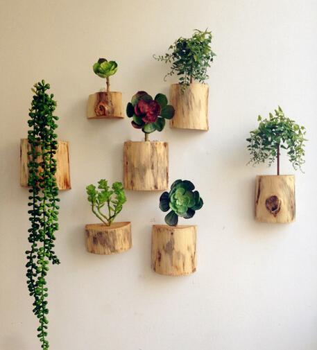 Wood Block Flower Vases Wall Flower Pots Planters Home