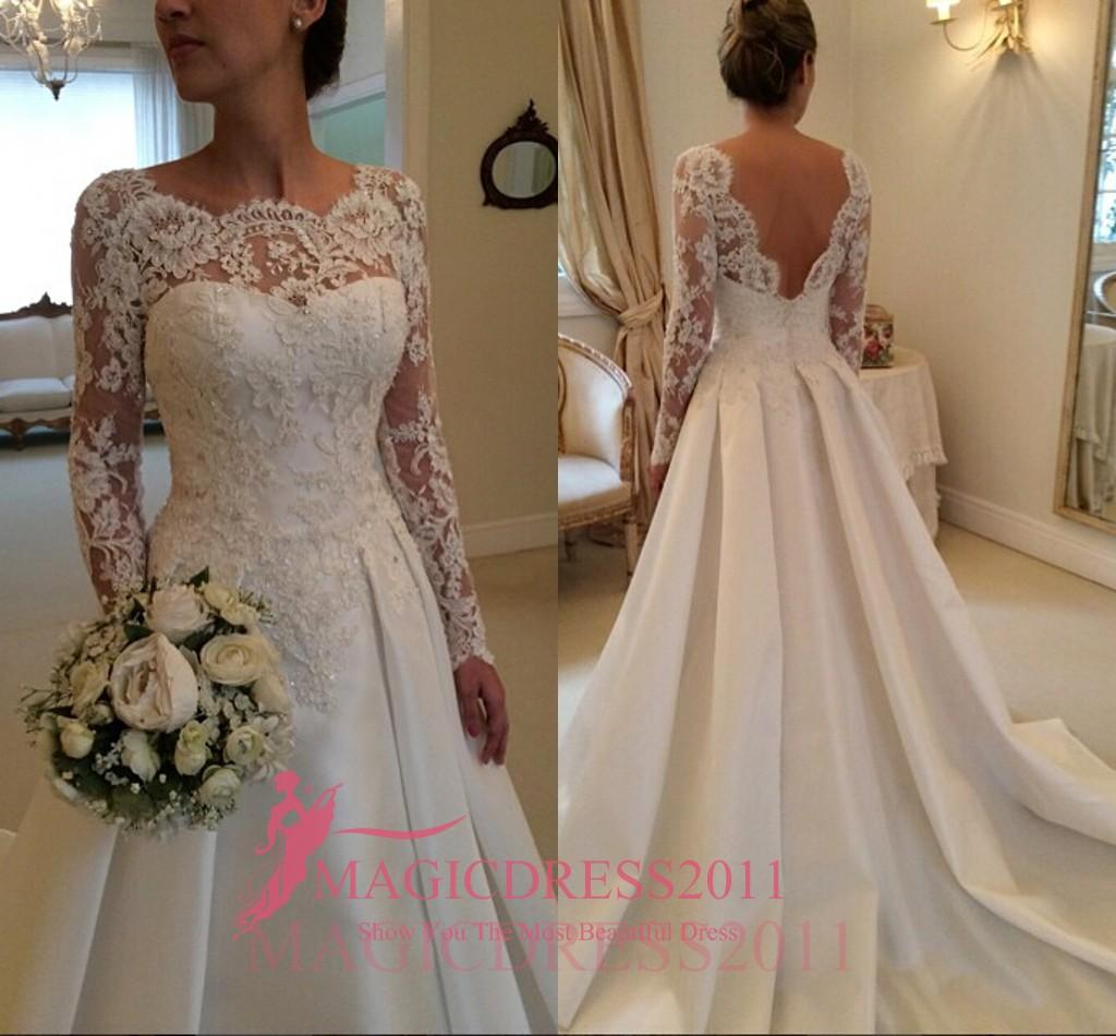 Discount Gorgeous Sheer Lace Wedding Dresses Backless Long