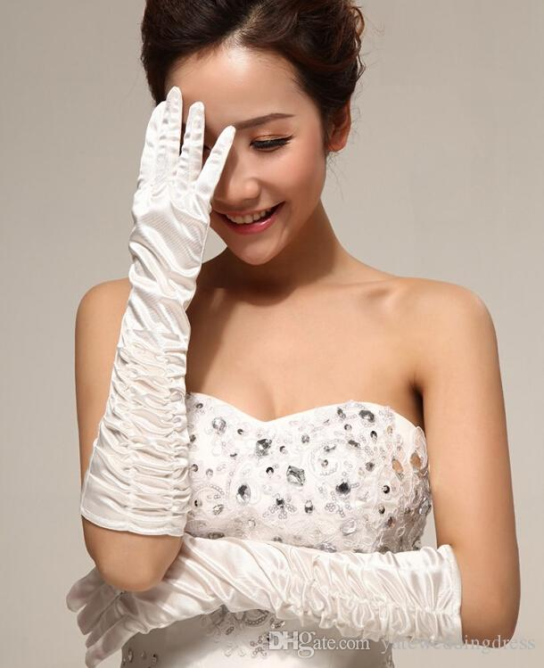 Wedding Petticoat Gloves Veil Set Cheap In Stock White Bridal Accessories For Ball Gown Wedding Dress Elbow Length Bridal Glove Crystal Veil
