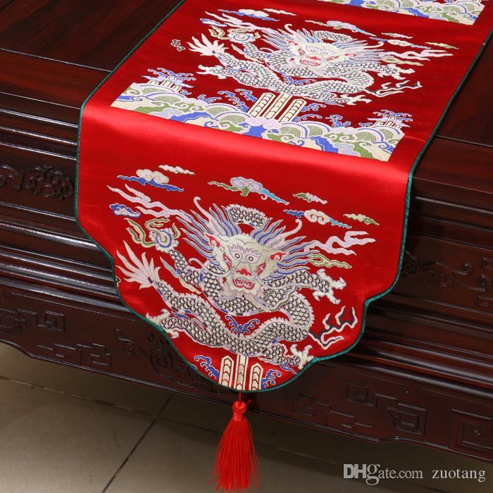 Unique Kirin Table Runners Chinese Ethnic style Cover Cloth High-density Thick Silk Brocade Coffee Table Cloth Wedding Reception Decorations
