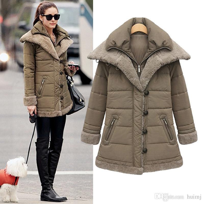Womens Winter Thicken Warm Fashion Military Jackets And Down Coat Fleece  Zip Trench Coats Wool Outwear 22a57f022