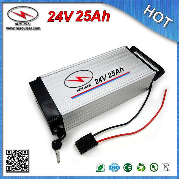 China manufacturer E Bike Battery 24V 25Ah Lithium Battery + CC/CV 2A Charger 18650 Cell 7S 30A BMS aluminum case FREE SHIPPING