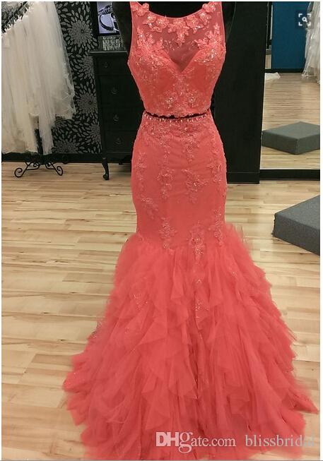 Duas Peças Vestidos de Noite Vermelho Sem Encosto Sereia Ruffles Vestidos de Festa Com Apliques Frisado Sexy Prom Vestidos