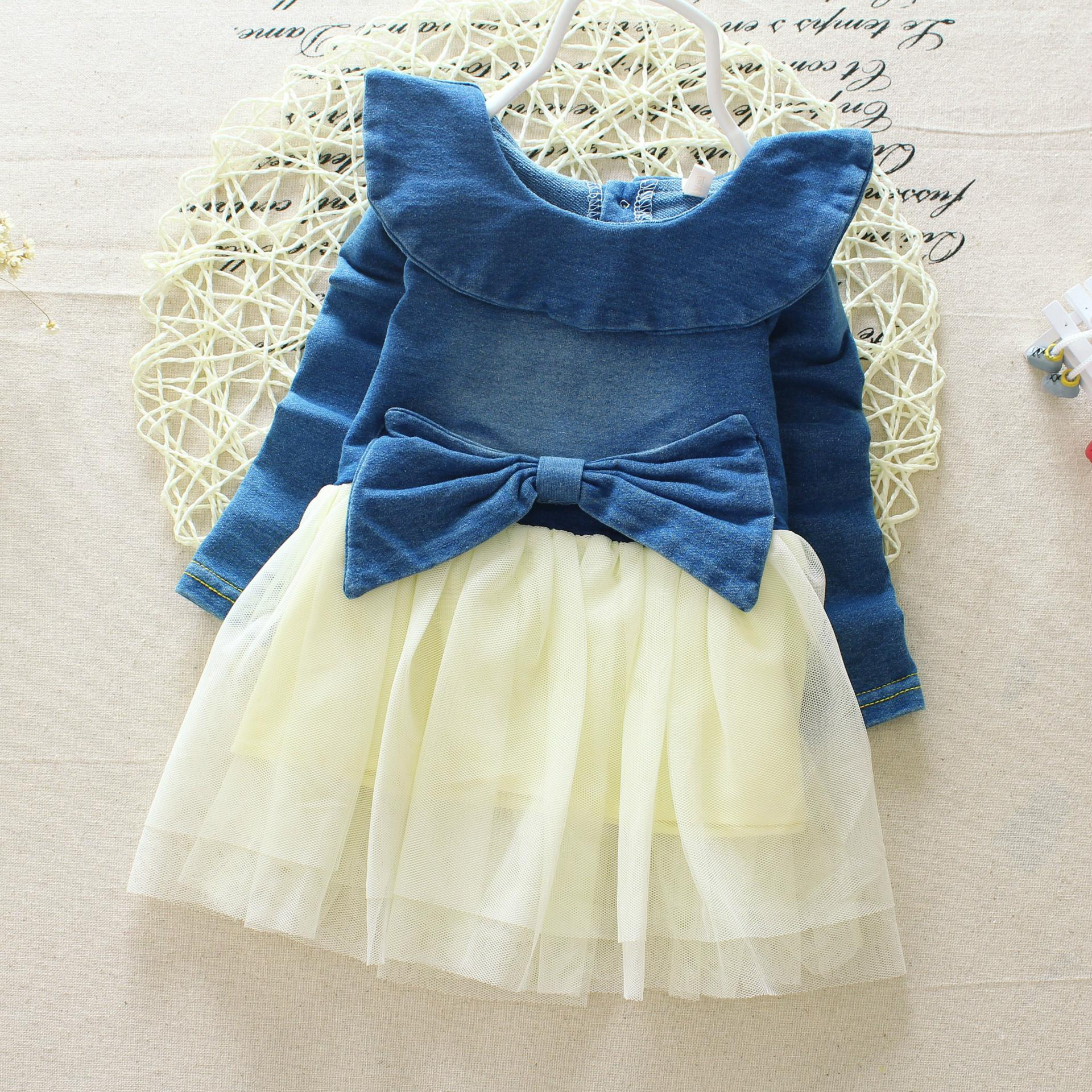 New Children s Clothing Washed Denim Kids Jeans Suspender Dress Lace