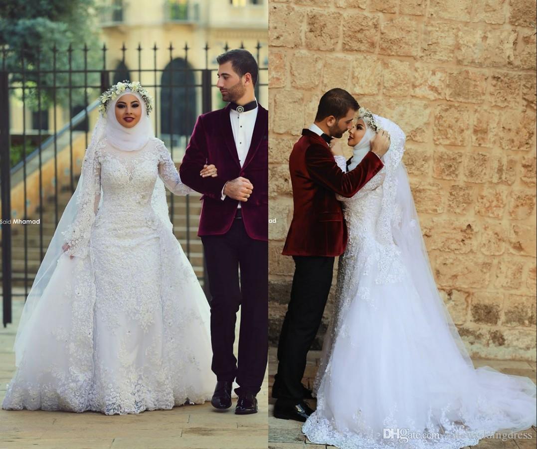 Hijab Wedding Dresses Long Sleeve Mermaid Style White Appliques ...
