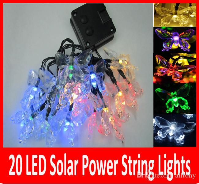 20 Led Solar Outdoor String Fairy Lights Butterfly Solar Powered Outdoor  String Lights Garden Camping Patio Party Christmas Multi Color Patio Lights  String ...