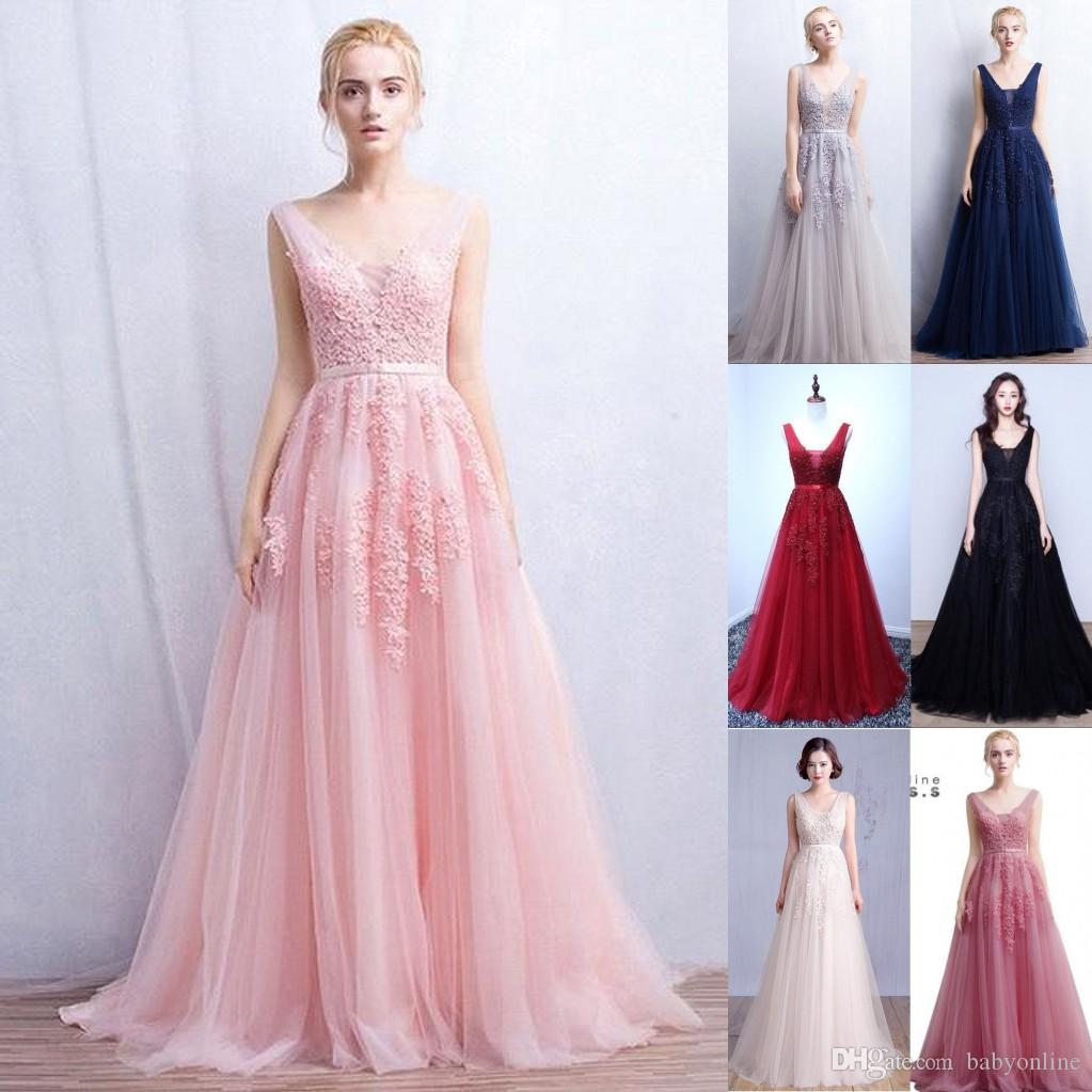 2019 Vestidos De Novia Una linea Sexy Deep-V Back Bead Lace lungo Tulle Abiti da sera Backless Ribbon colorato Blush rosa Prom Gowns CPS304