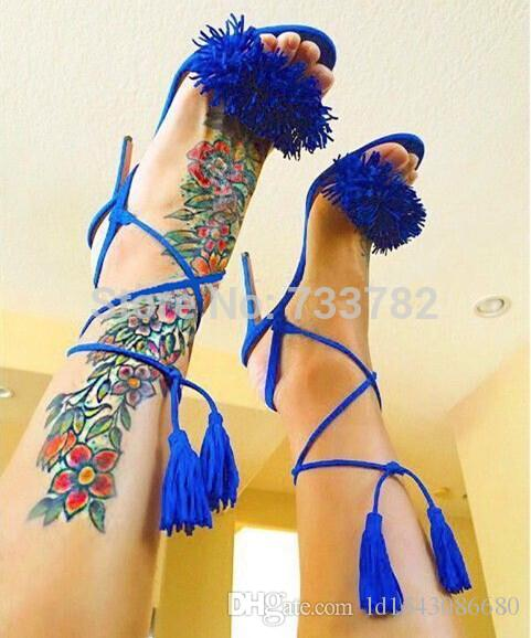 Genuine leather Brand AQUAZZURA Tassel Fringe Suede Women Sandals Lace Up Ankle Strappy High Heels Prom Wedding Shoes Woman Sandals Mujer