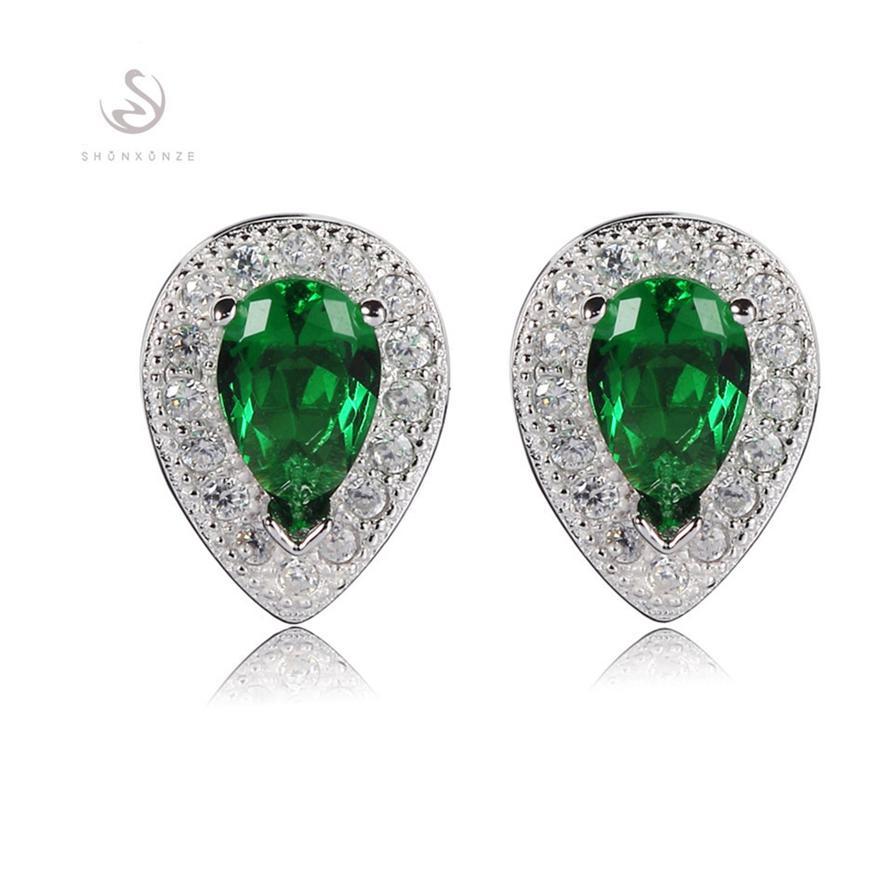 925 Sterlingsilber Shinning Ohrringe Edle Großzügige Bestseller S-3748 Cute Green Zirkonia Erstklassige Produkte Weiterempfehlen