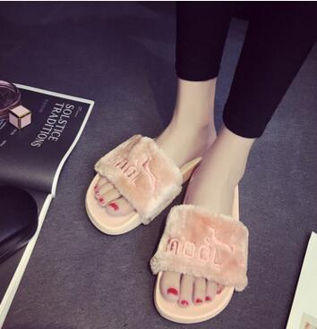 2017 New Women Summer Slippers Fenty Slipper Rihanna Shoes Sandals Flip Flop Plush Cute Furry Mule Lady's Flip Flop Shoe