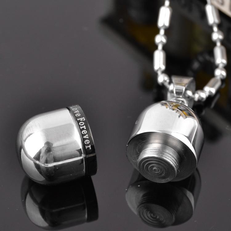 Love forever Cremation Jewelry High quality openable Stainless Steel Pill capsule Pendant Memorial Ash Urns Lockets Necklace Urns Jewelry