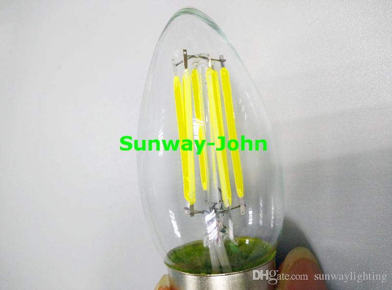 360도 LED 필라멘트 전구 2W 4W 6W Dimmable E12 E27 B22 E14 LED 캔들 전구 조명 따뜻한 쿨 화이트 110V 220V