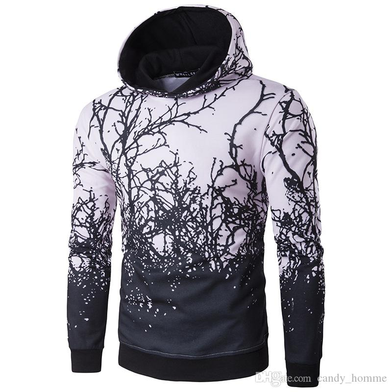 2017 Fashion Men's Pullovers Hoodie Brand Clothing Bush Branches ...